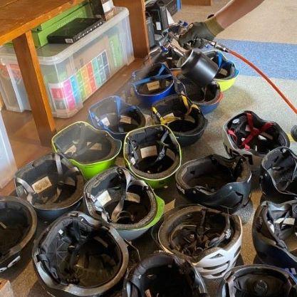Photo-Coating work on helmets